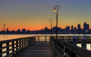 Seattle Boardwalk at Sunset